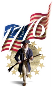 Soldier with american flag and 1776 number in background